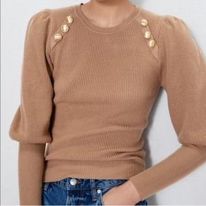 Zara puff sleeve tan sweater
